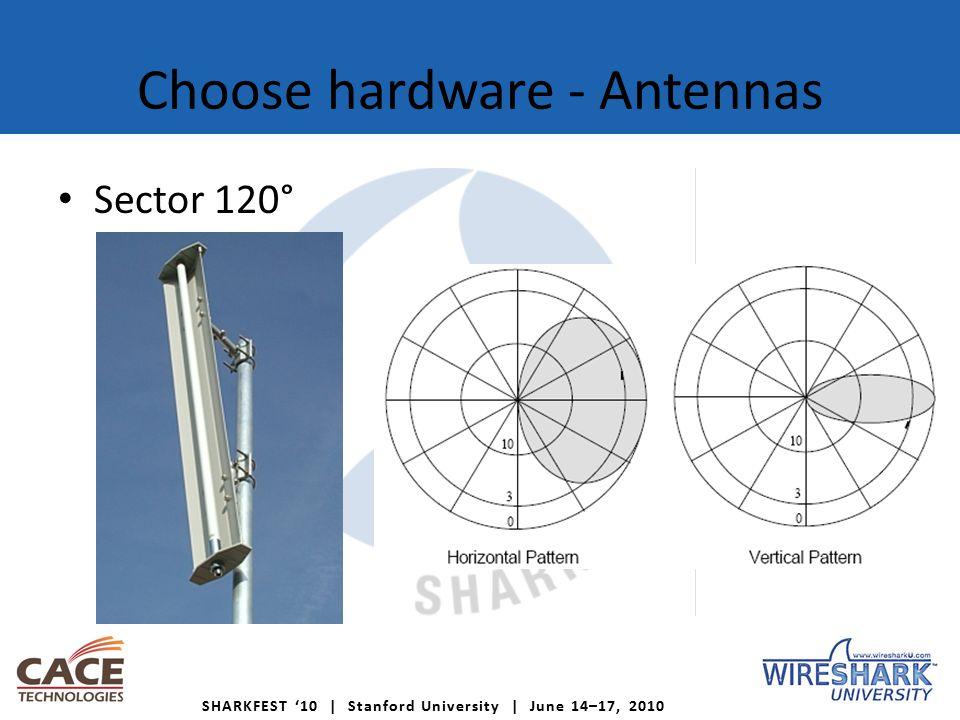 SHARKFEST '10 | Stanford University | June 14–17, 2010 Choose hardware - Antennas Sector 120°