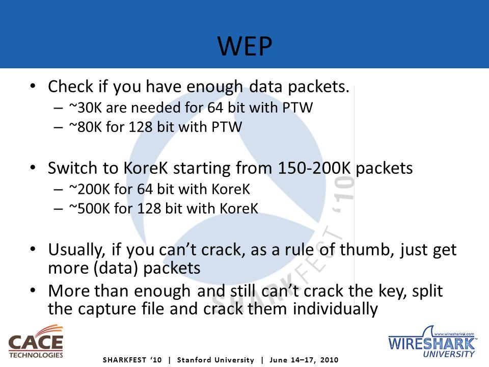 SHARKFEST '10   Stanford University   June 14–17, 2010 WEP – Split files Pcap-util: http://www.badpenguin.co.uk/files/pcap-util Perl script Works on Linux/Windows