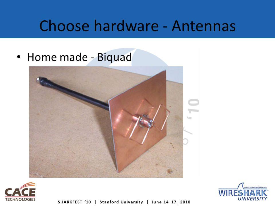 SHARKFEST '10 | Stanford University | June 14–17, 2010 Choose hardware - Antennas Home made - Biquad