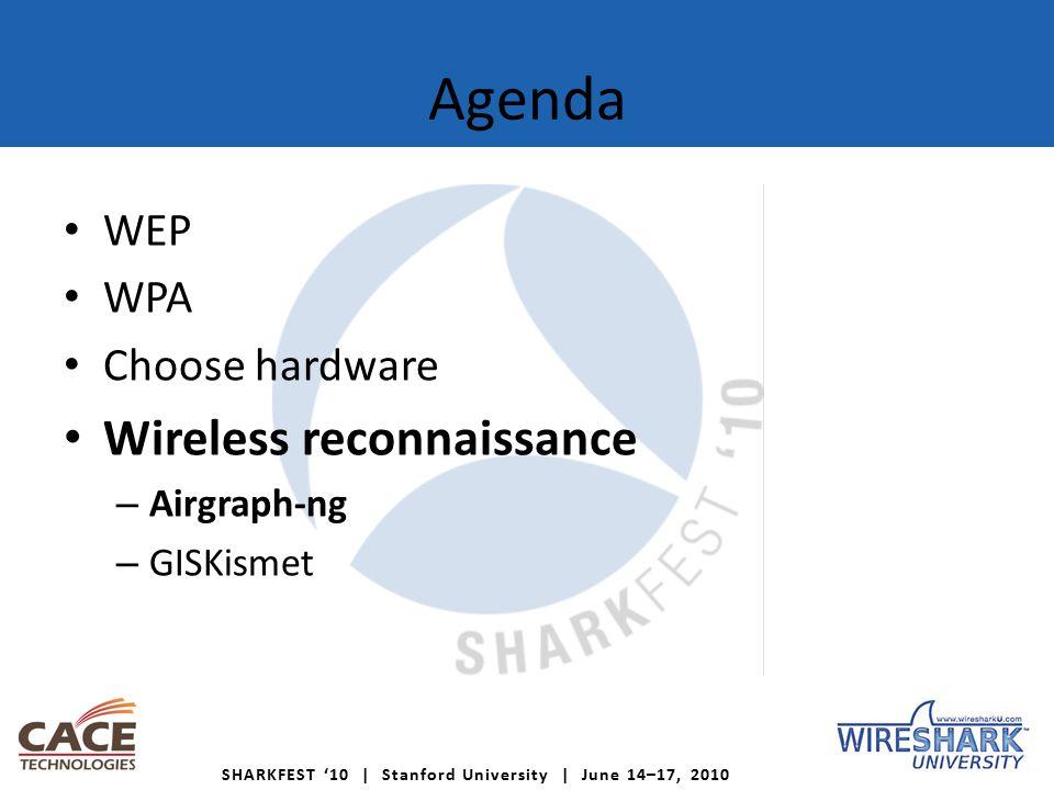 SHARKFEST '10 | Stanford University | June 14–17, 2010 Agenda WEP WPA Choose hardware Wireless reconnaissance – Airgraph-ng – GISKismet