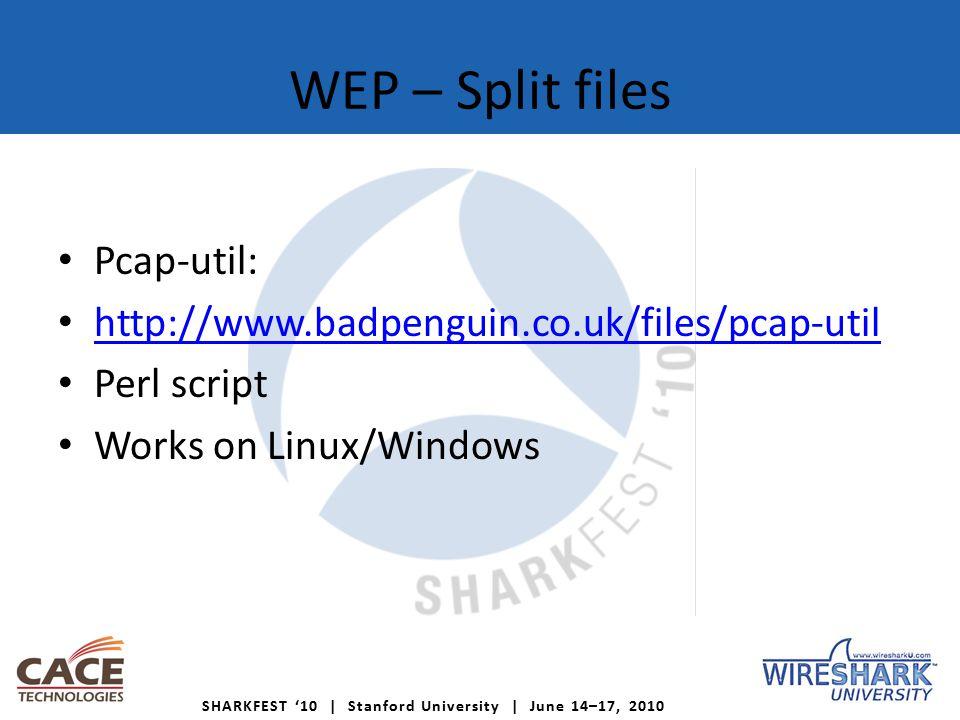 SHARKFEST '10   Stanford University   June 14–17, 2010 Agenda WEP WPA Choose hardware Wireless reconaissance – Airgraph-ng – GISKismet