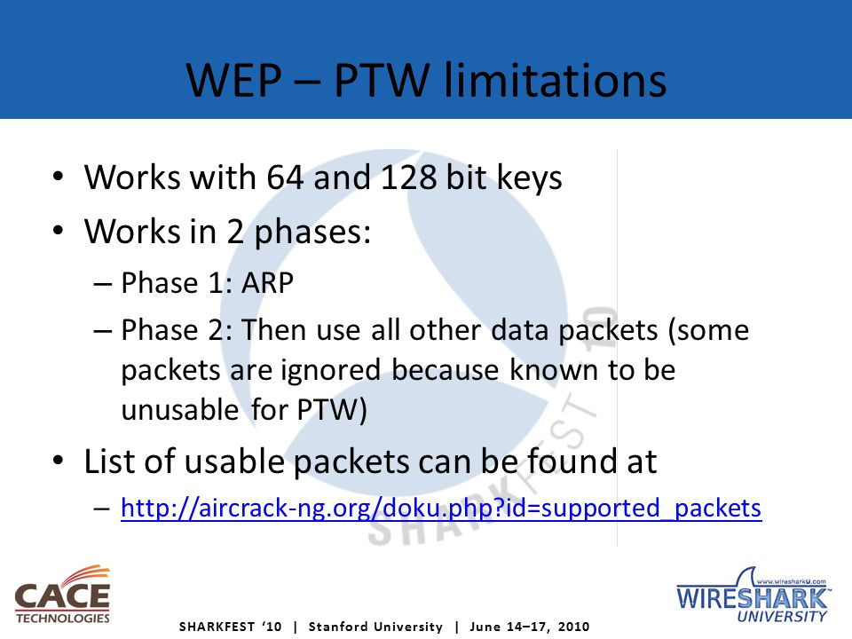 SHARKFEST '10   Stanford University   June 14–17, 2010 WEP – WEP Cloaking ™ « Motorol AirDefese WEP Cloaking™ provides protection for wireless infrastructure secured by legacy encryption protocols.