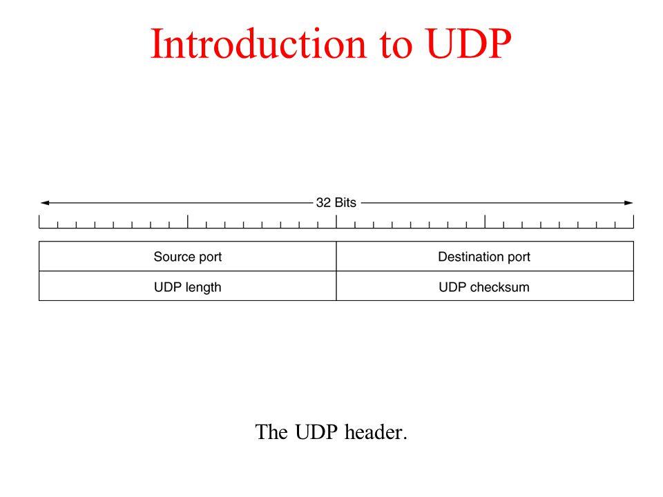 Introduction to UDP The UDP header.
