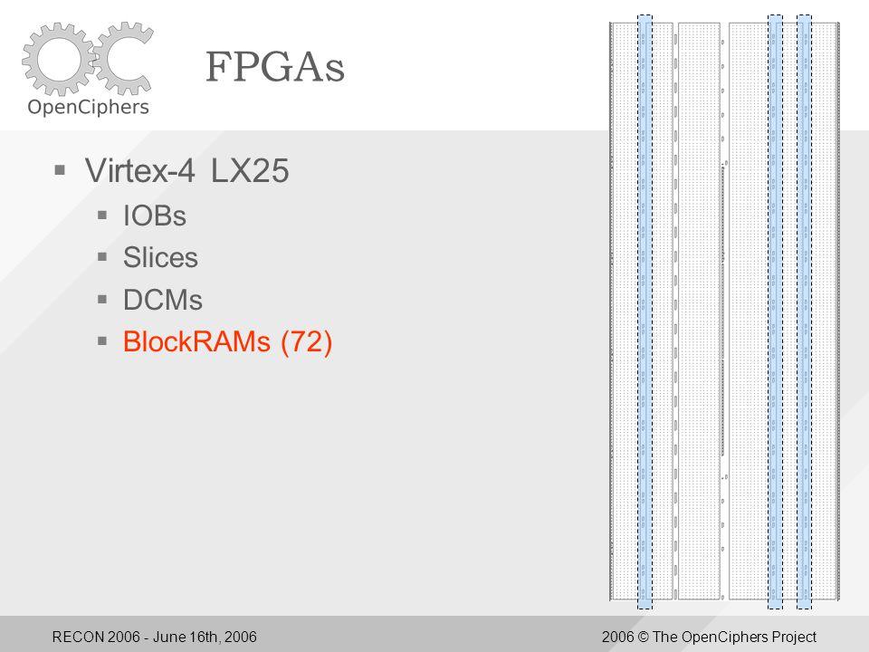 RECON 2006 - June 16th, 20062006 © The OpenCiphers Project Performance Comparison PC  Cowpatty  800MHz P3 ~25/sec  3.6GHz P4 ~60/sec  AMD Opteron ~70/sec  2.16GHz IntelDuo ~70/sec  Aircrack  3.6GHz P4~100/sec FPGA  Cowpatty  LX25 ~430/sec  15 Cluster ~6,500/sec  FX60 ~1,000/sec