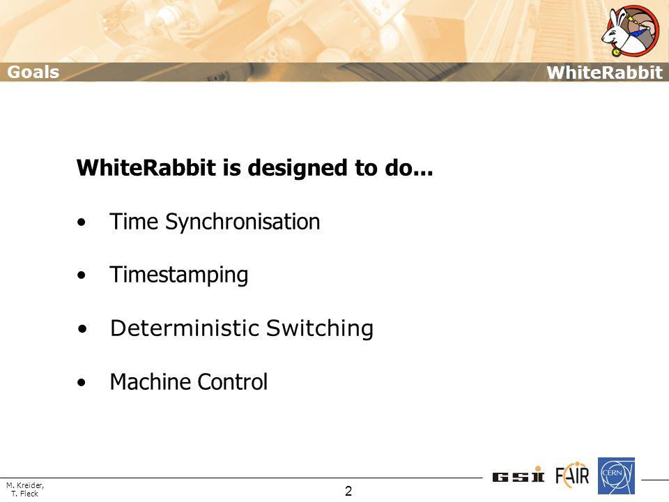 M. Kreider, T. Fleck WhiteRabbit 2 WhiteRabbit is designed to do... Time Synchronisation Timestamping Deterministic Switching Machine Control Goals