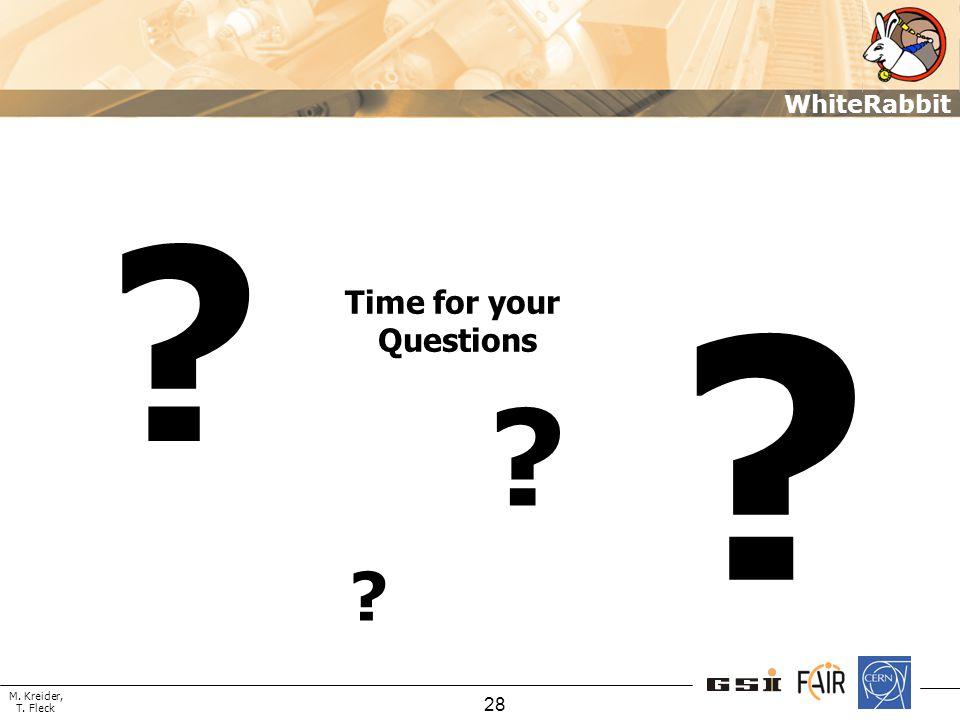 M. Kreider, T. Fleck WhiteRabbit 28 Time for your Questions ? ? ? ?