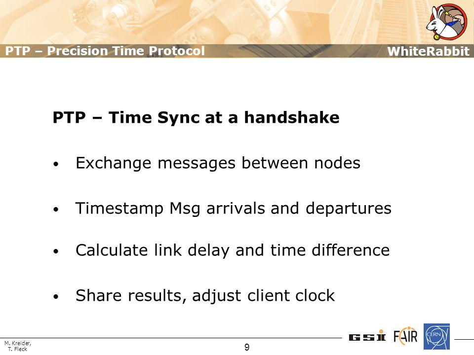 M. Kreider, T. Fleck WhiteRabbit 9 PTP – Precision Time Protocol PTP – Time Sync at a handshake Exchange messages between nodes Timestamp Msg arrivals