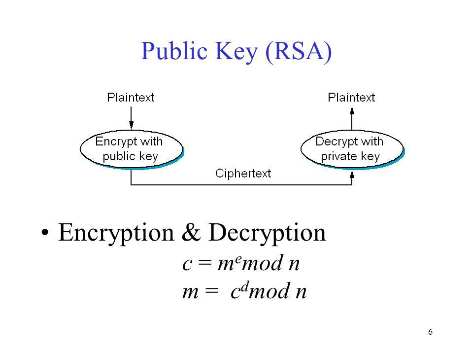 6 Public Key (RSA) Encryption & Decryption c = m e mod n m = c d mod n
