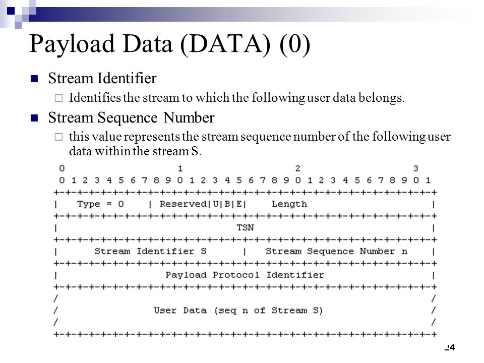 24 Payload Data (DATA) (0) Stream Identifier  Identifies the stream to which the following user data belongs.