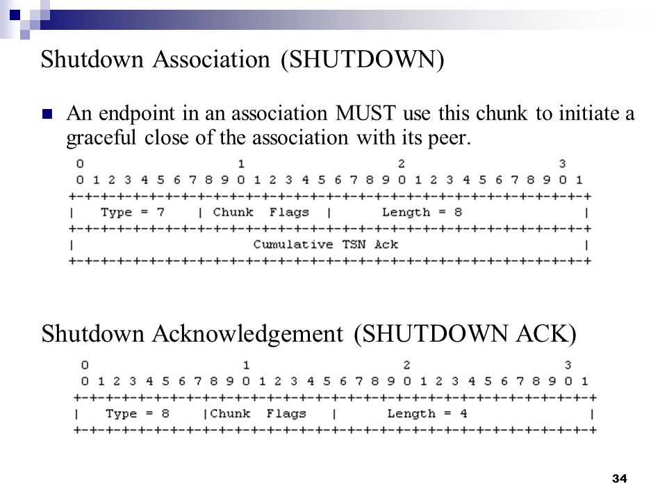 34 Shutdown Association (SHUTDOWN) An endpoint in an association MUST use this chunk to initiate a graceful close of the association with its peer.