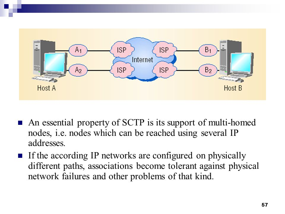 57 An essential property of SCTP is its support of multi-homed nodes, i.e.