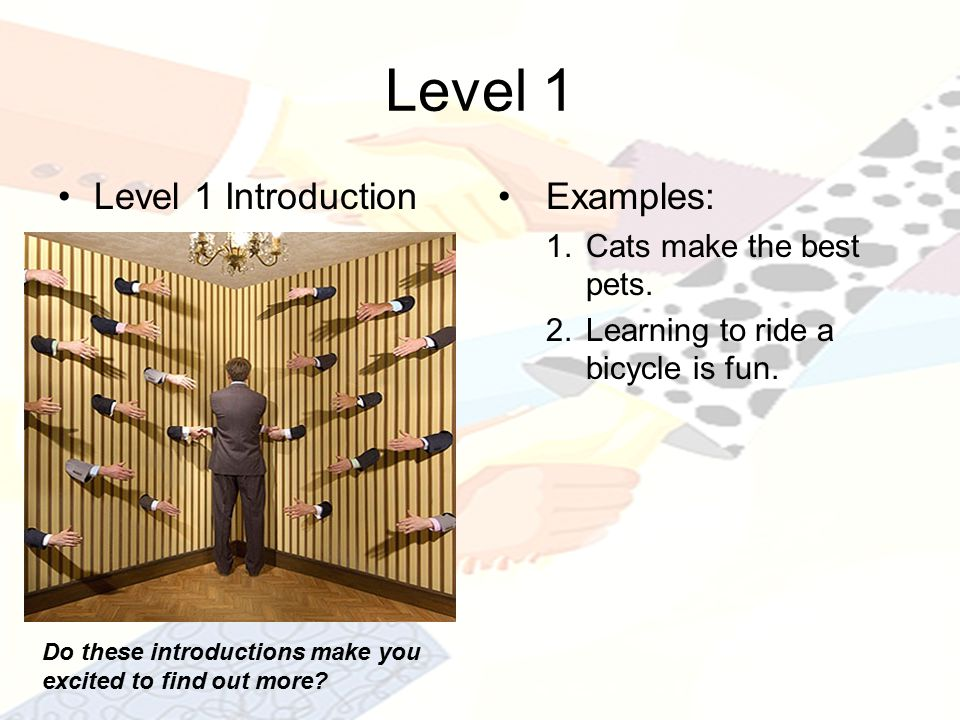 Level 1 Level 1 IntroductionExamples: 1.Cats make the best pets.