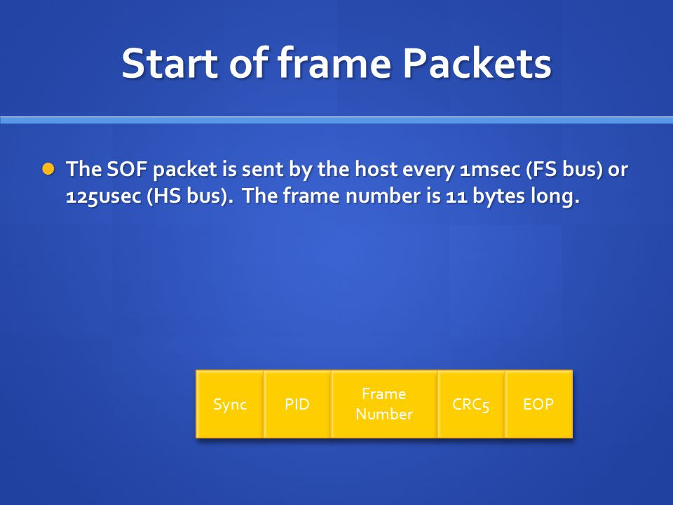 Start of frame Packets The SOF packet is sent by the host every 1msec (FS bus) or 125usec (HS bus).