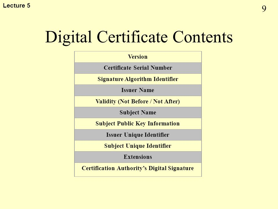 9 Lecture 5 Digital Certificate Contents Version Certificate Serial Number Signature Algorithm Identifier Issuer Name Validity (Not Before / Not After