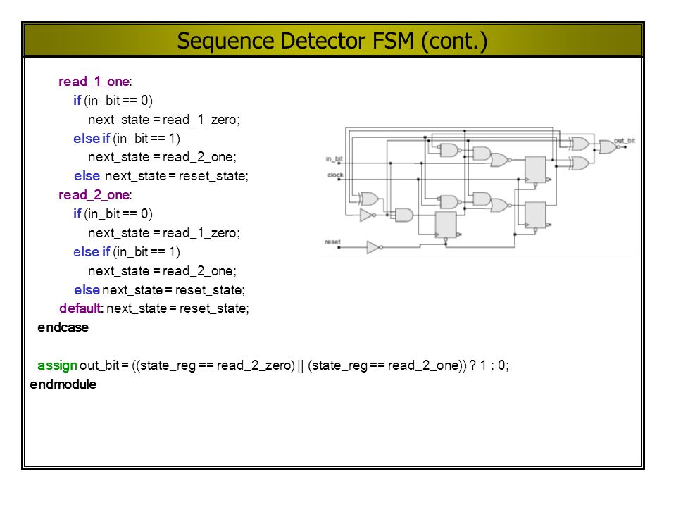 Sequence Detector FSM (cont.) read_1_one: if (in_bit == 0) next_state = read_1_zero; else if (in_bit == 1) next_state = read_2_one; else next_state =
