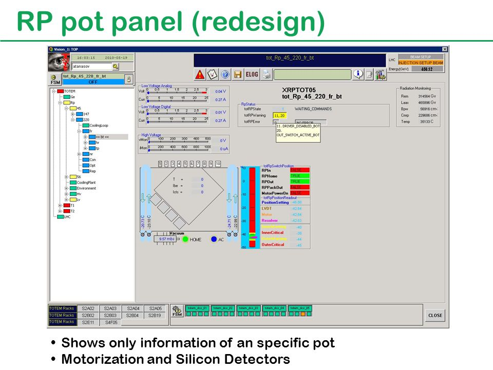 RP motorization panel (new panel) Shows motorization status for all the pots Log messages and configuration and special commands