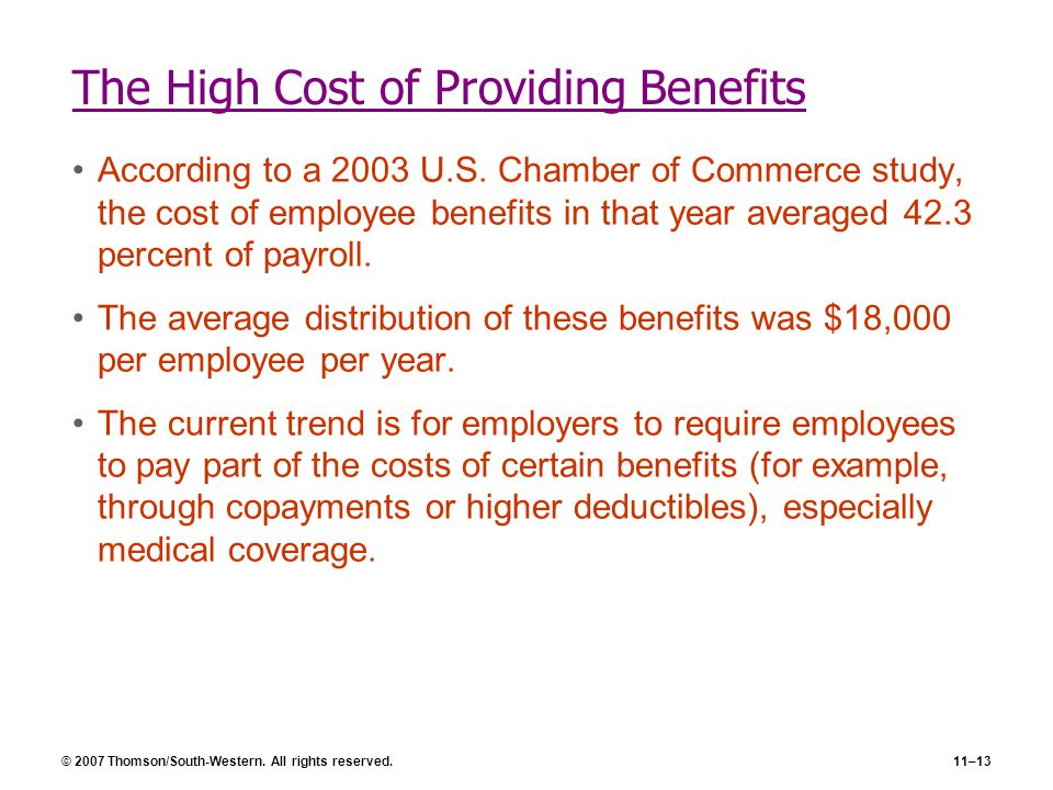 © 2007 Thomson/South-Western. All rights reserved.11–13 The High Cost of Providing Benefits According to a 2003 U.S. Chamber of Commerce study, the co