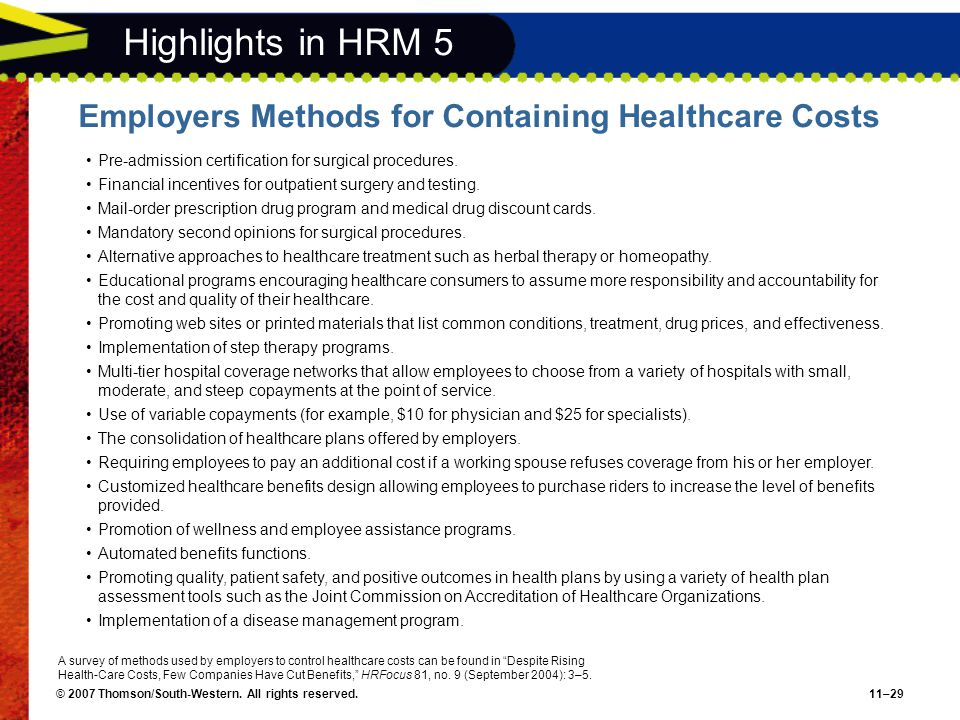 © 2007 Thomson/South-Western. All rights reserved.11–29 Highlights in HRM 5 Employers Methods for Containing Healthcare Costs Pre-admission certificat