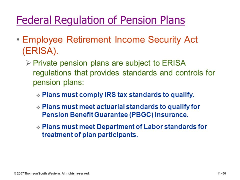 © 2007 Thomson/South-Western. All rights reserved.11–36 Federal Regulation of Pension Plans Employee Retirement Income Security Act (ERISA).  Private