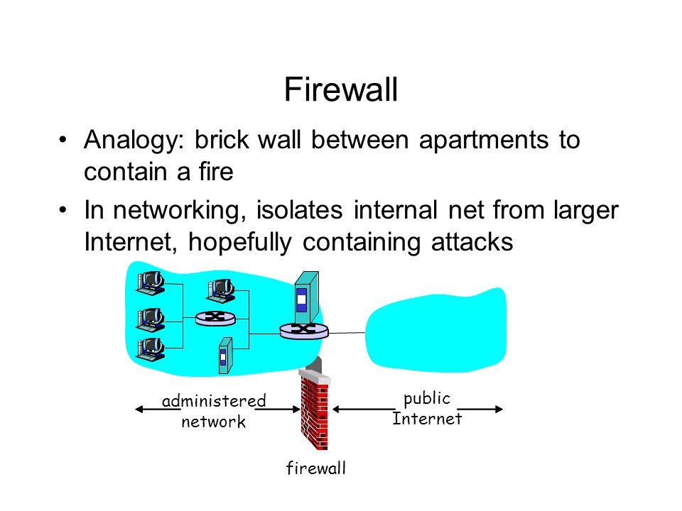 Firewall Analogy: brick wall between apartments to contain a fire In networking, isolates internal net from larger Internet, hopefully containing atta