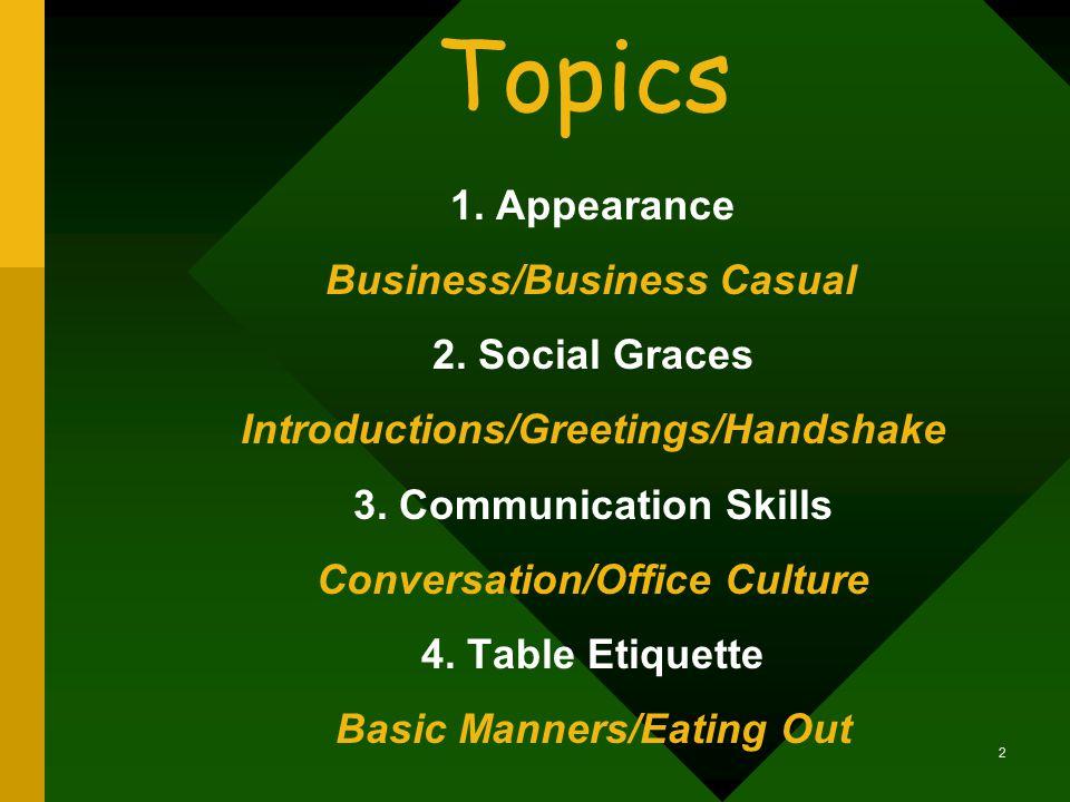 BusinessEtiquette Developed by Juanita Johnson, Professor LSU AgCenter, Baton Rouge, LA