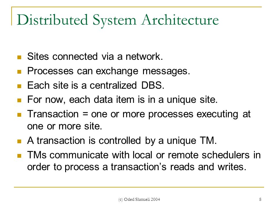 (c) Oded Shmueli 2004 8 Distributed System Architecture Sites connected via a network.