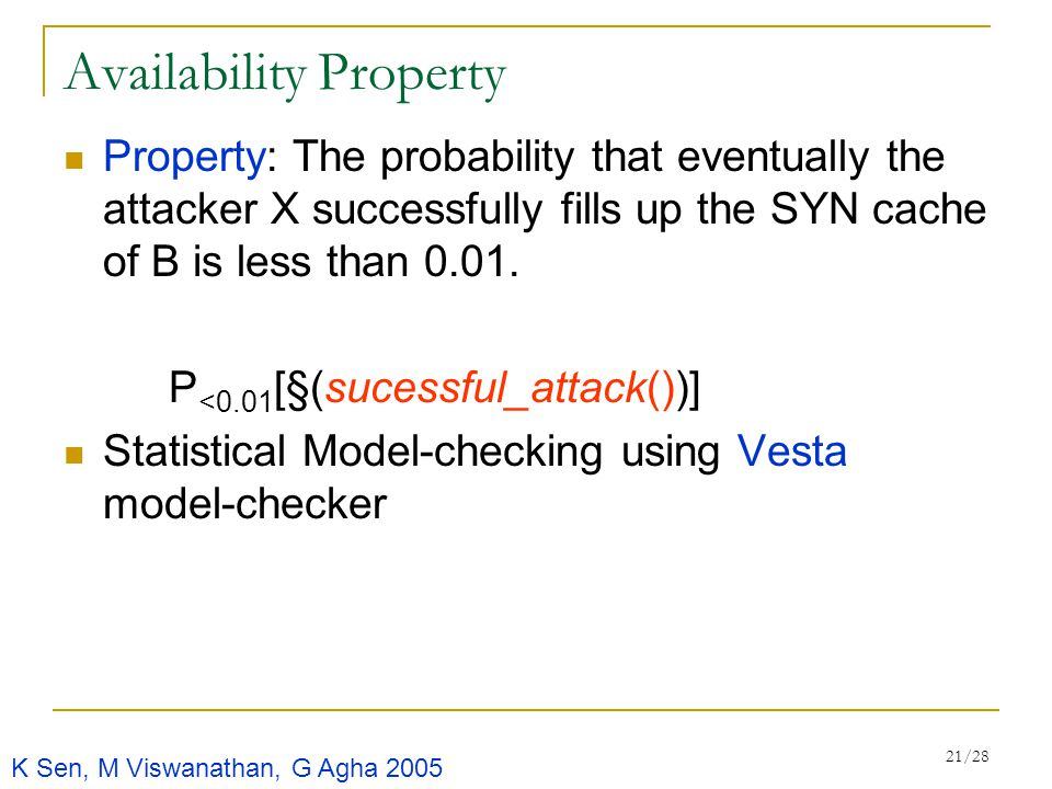 21/28 Availability Property Property: The probability that eventually the attacker X successfully fills up the SYN cache of B is less than 0.01.