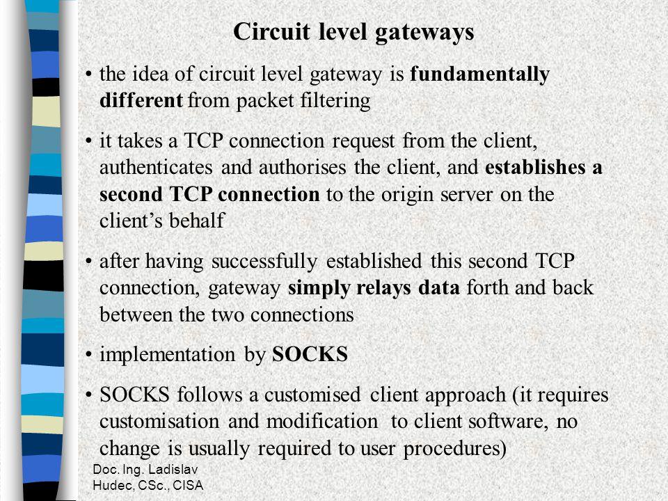 Doc. Ing. Ladislav Hudec, CSc., CISA Circuit level gateways the idea of circuit level gateway is fundamentally different from packet filtering it take