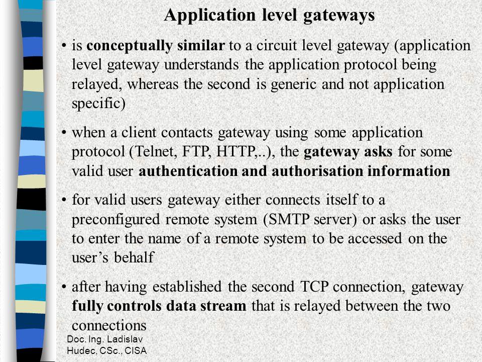 Doc. Ing. Ladislav Hudec, CSc., CISA Application level gateways is conceptually similar to a circuit level gateway (application level gateway understa