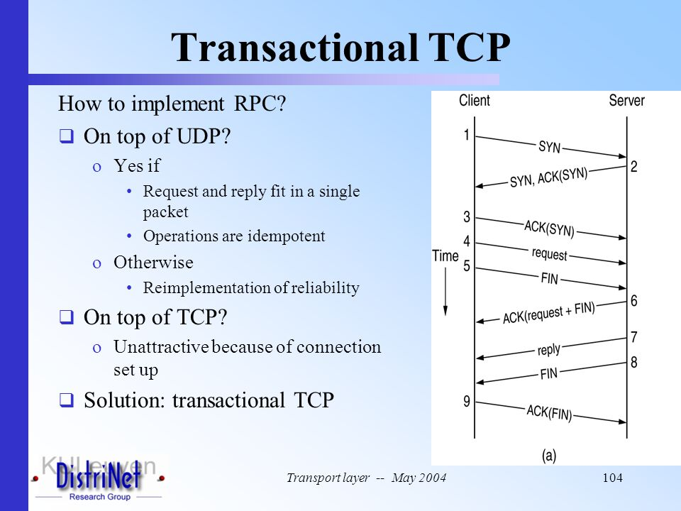 Transport layer -- May 2004104 Transactional TCP How to implement RPC?  On top of UDP? oYes if Request and reply fit in a single packet Operations ar