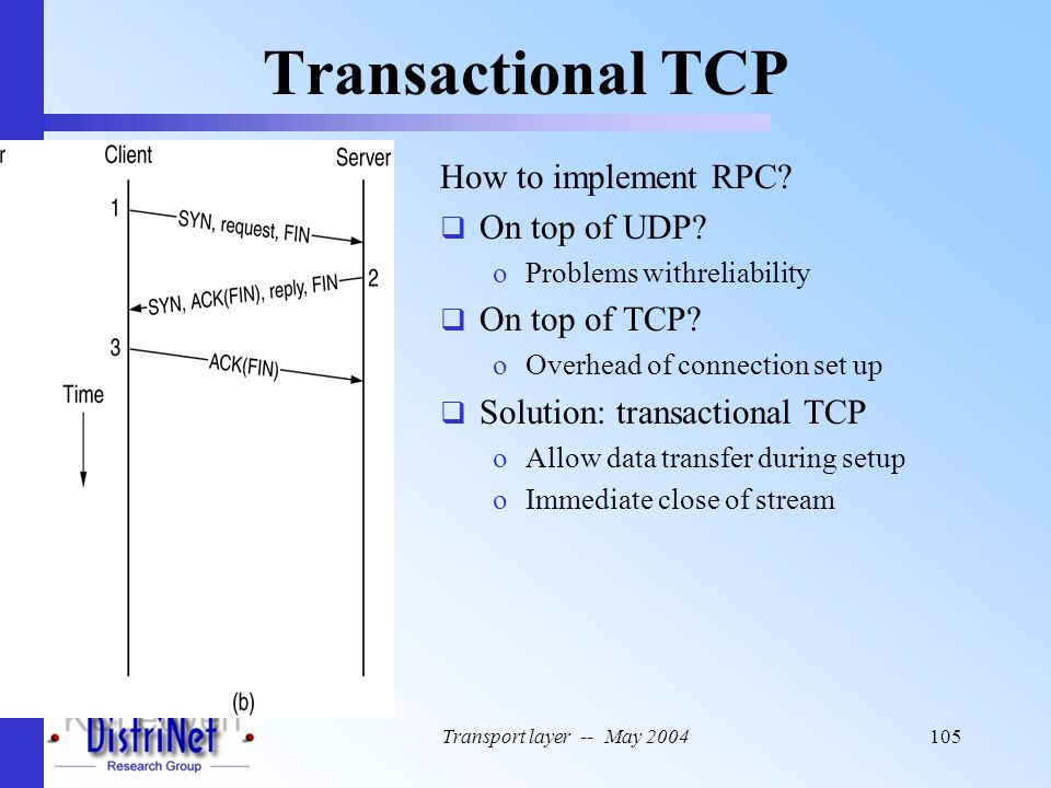 Transport layer -- May 2004105 Transactional TCP How to implement RPC?  On top of UDP? oProblems withreliability  On top of TCP? oOverhead of connec