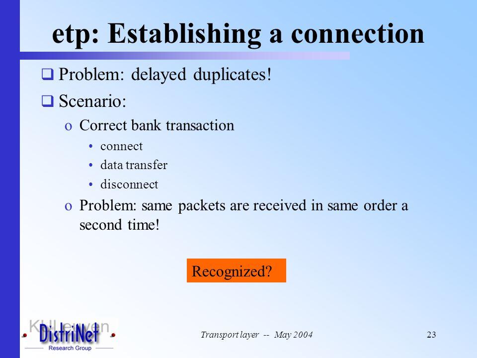 Transport layer -- May 200423 etp: Establishing a connection  Problem: delayed duplicates!  Scenario: oCorrect bank transaction connect data transfe