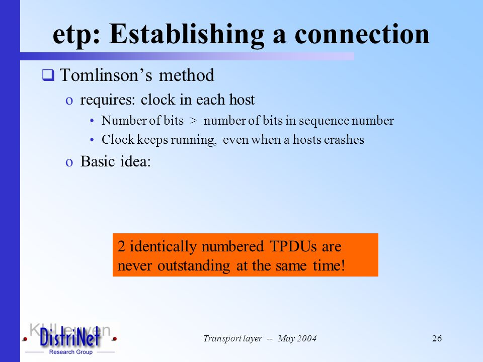 Transport layer -- May 200426 etp: Establishing a connection  Tomlinson's method orequires: clock in each host Number of bits > number of bits in seq