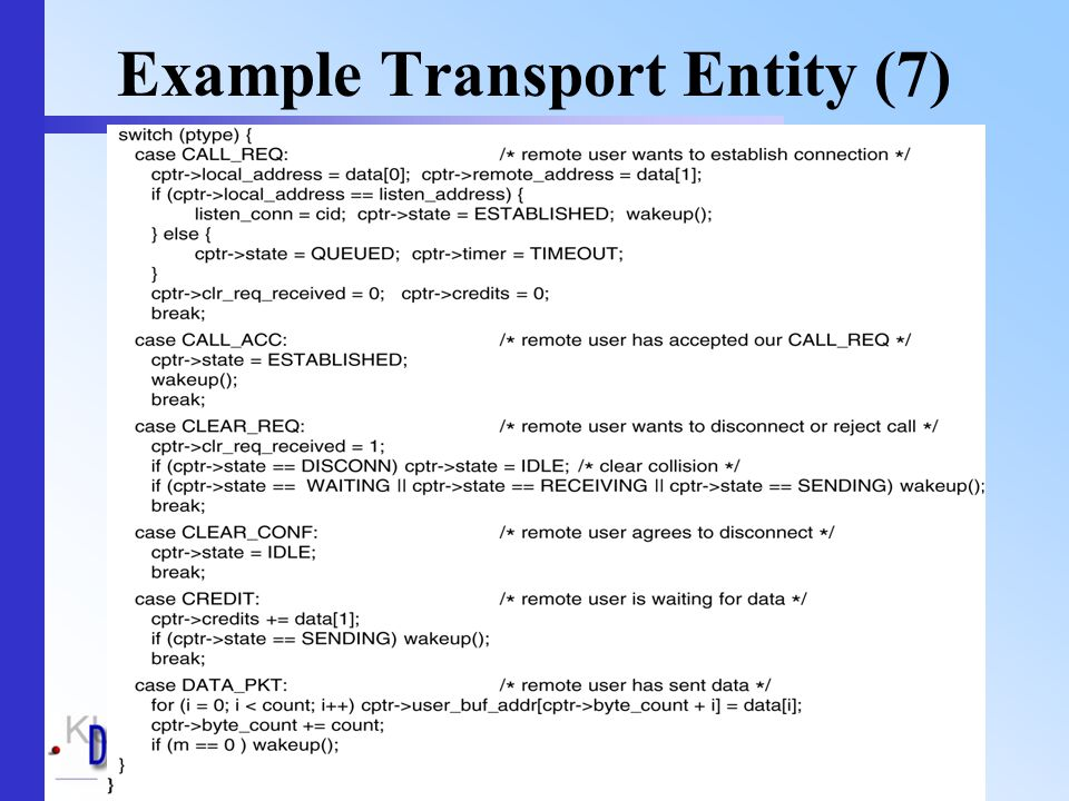 Transport layer -- May 200459 Example Transport Entity (7)