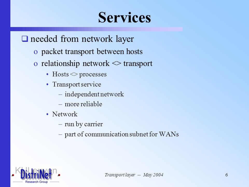 Transport layer -- May 200457 Example Transport Entity (5)