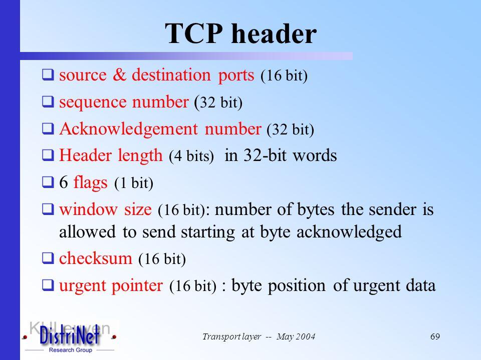 Transport layer -- May 200469 TCP header  source & destination ports (16 bit)  sequence number ( 32 bit)  Acknowledgement number (32 bit)  Header