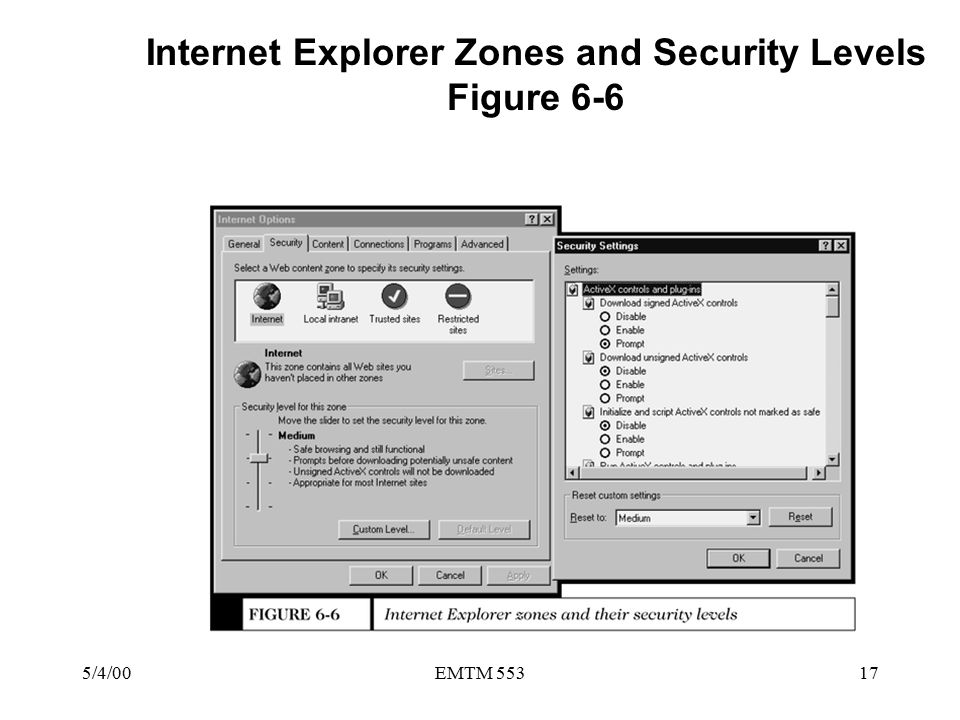 5/4/00EMTM 55317 Internet Explorer Zones and Security Levels Figure 6-6