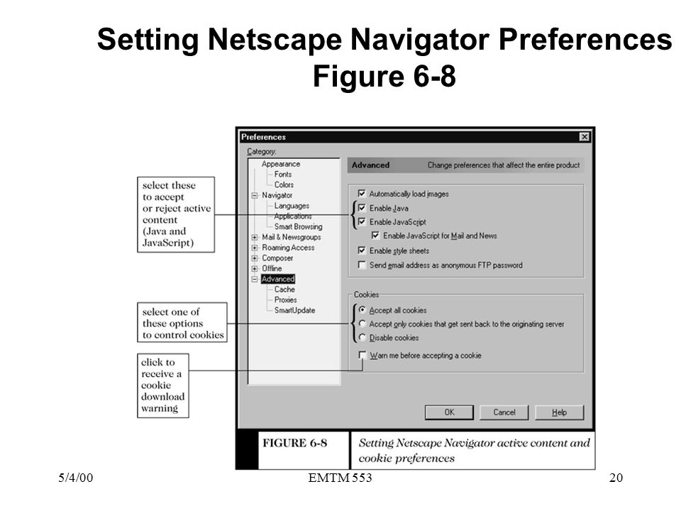 5/4/00EMTM 55320 Setting Netscape Navigator Preferences Figure 6-8