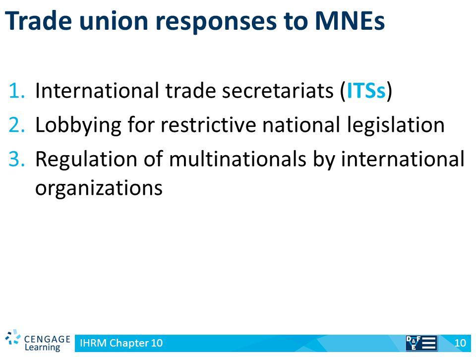 v Trade union responses to MNEs 10 IHRM Chapter 10 1.International trade secretariats (ITSs) 2.Lobbying for restrictive national legislation 3.Regulat