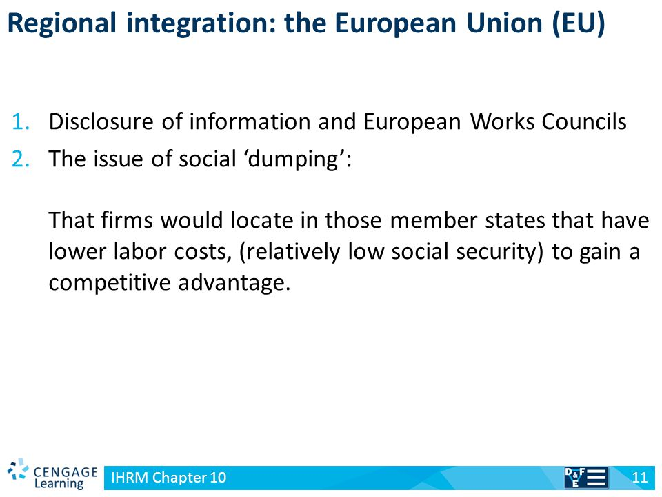 v Regional integration: the European Union (EU) 11 IHRM Chapter 10 1.Disclosure of information and European Works Councils 2.The issue of social 'dump