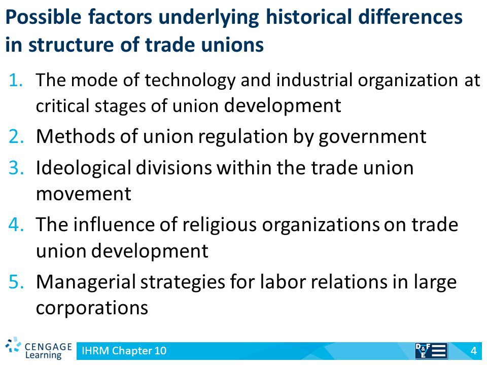 v 5 IHRM Chapter 10 Table 10-1 Trade union structure in leading Western industrial societies