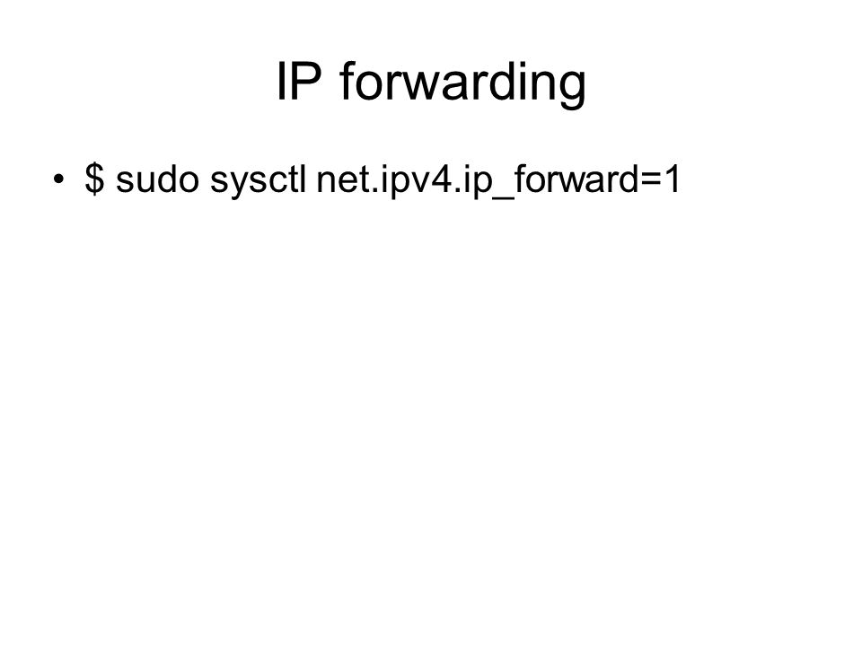 IP forwarding $ sudo sysctl net.ipv4.ip_forward=1