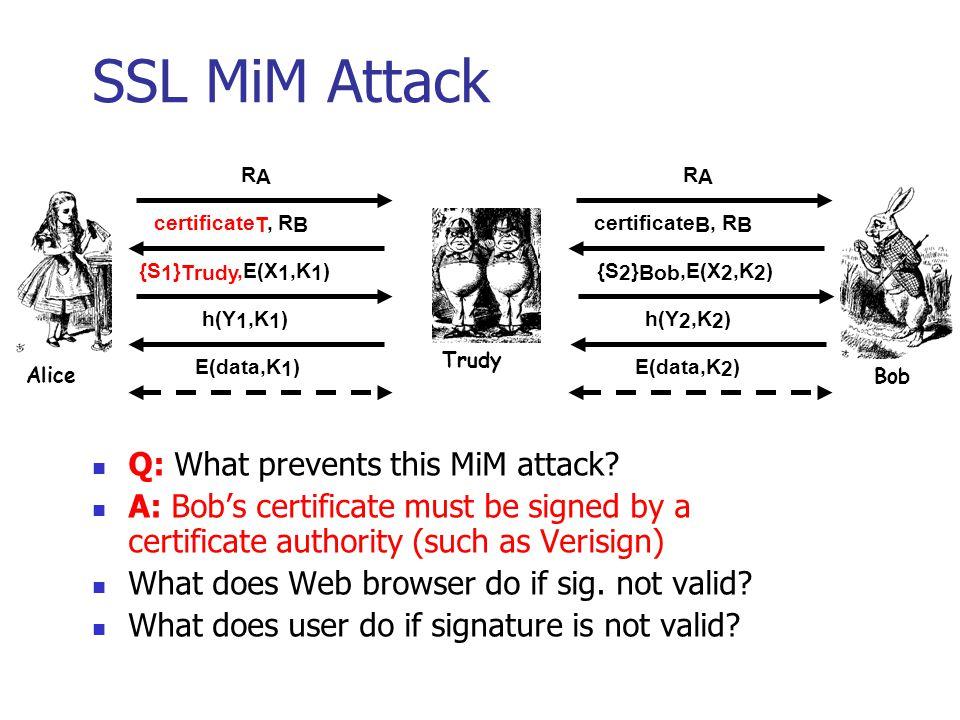 SSL Authentication Alice authenticates Bob, not vice-versa How does client authenticate server.