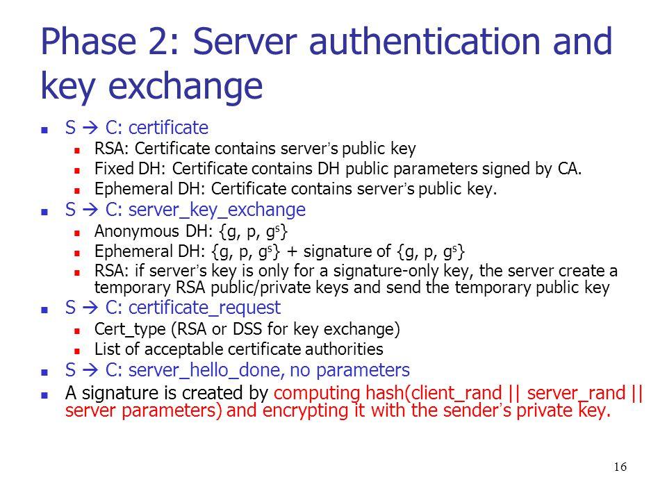 15 Cipher spec Cipher Algorithm (RC4, RC2, DES, 3DES, DES40, IDEA) MAC Algorithm (MD5, SHA-1) Cipher Type (stream or block) Is Exportable (true or false) Hash size (0 or 16 bytes for MD5, 20 bytes for SHA-1) IV size: IV size for Cipher Block Chaining(CBC) encryption