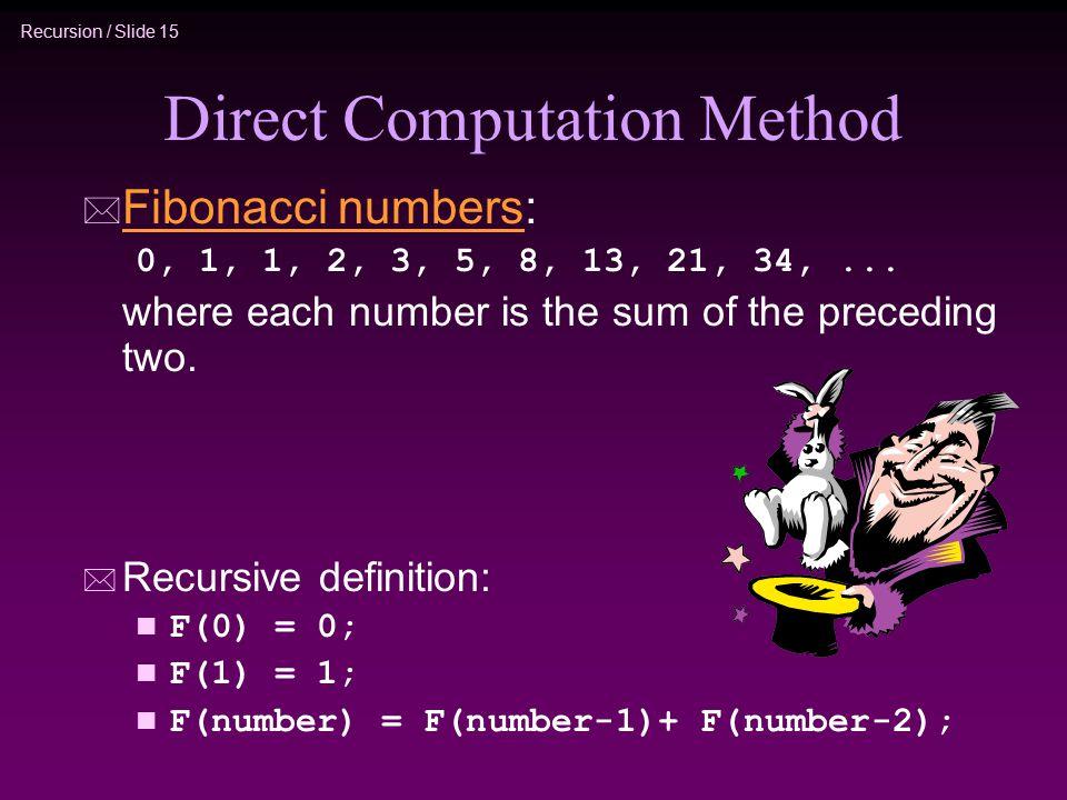 Recursion / Slide 15 Direct Computation Method * Fibonacci numbers: Fibonacci numbers 0, 1, 1, 2, 3, 5, 8, 13, 21, 34,... where each number is the sum