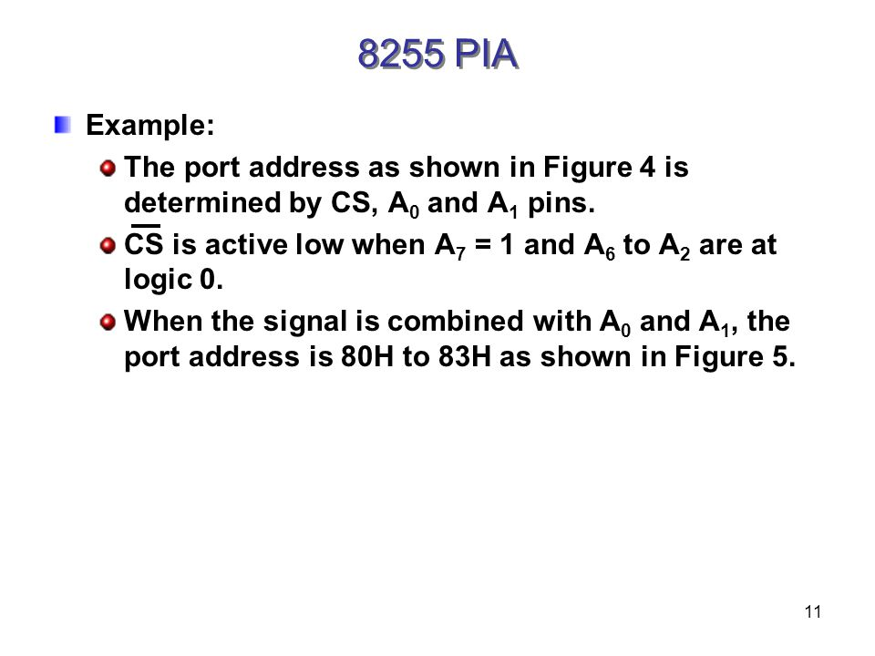 11 Example: The port address as shown in Figure 4 is determined by CS, A 0 and A 1 pins.