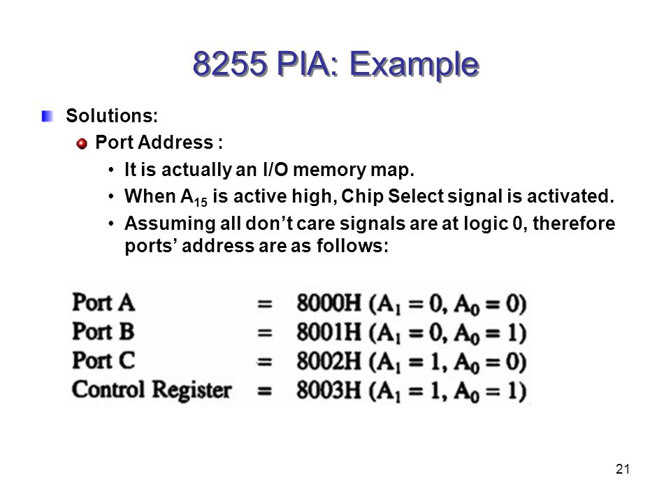 21 8255 PIA: Example Solutions: Port Address : It is actually an I/O memory map.