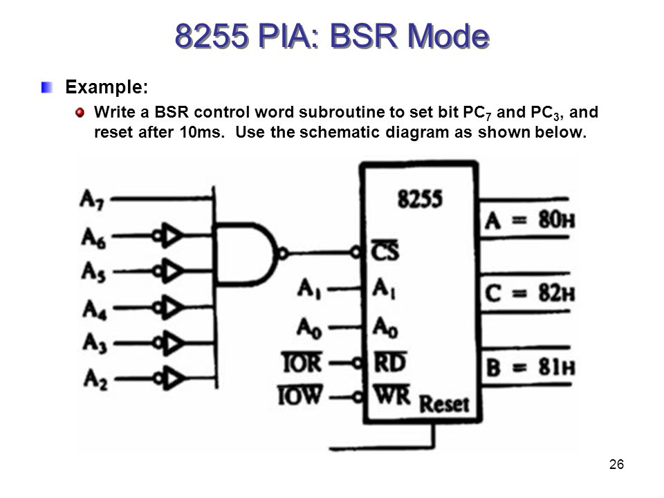 26 8255 PIA: BSR Mode Example: Write a BSR control word subroutine to set bit PC 7 and PC 3, and reset after 10ms.