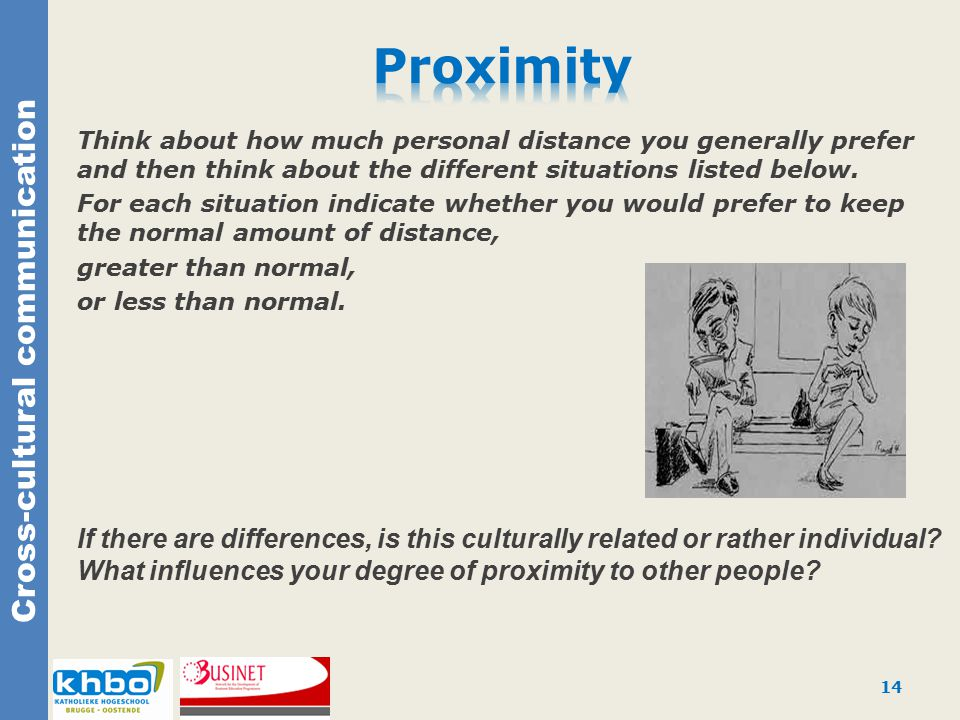 Cross-cultural communication Think about how much personal distance you generally prefer and then think about the different situations listed below.