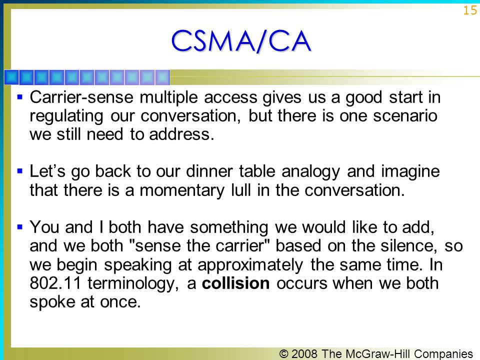 © 2008 The McGraw-Hill Companies 15CSMA/CA  Carrier-sense multiple access gives us a good start in regulating our conversation, but there is one scenario we still need to address.